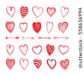 heart and arrows icons hand... | Shutterstock .eps vector #558636994