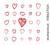 heart icons hand drawn set in... | Shutterstock .eps vector #558637024