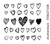 heart icons hand drawn set in... | Shutterstock .eps vector #558637108