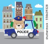 cute teddy bear driving police... | Shutterstock .eps vector #558639328
