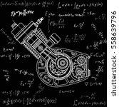 drawing an internal combustion...   Shutterstock .eps vector #558639796