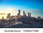 san gimignano town skyline and... | Shutterstock . vector #558647284