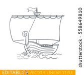 ancient sailboat. wooden ship.... | Shutterstock .eps vector #558649810