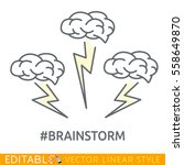 brainstorm icon. editable line... | Shutterstock .eps vector #558649870