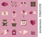 february happy valentine icon... | Shutterstock .eps vector #558652150