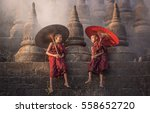 myanmar  little monks   stay... | Shutterstock . vector #558652720