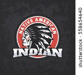 round american indian logo on... | Shutterstock .eps vector #558654640