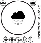 cloud with snowflak icon with...