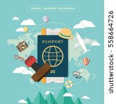 travel around the world with... | Shutterstock .eps vector #558664726
