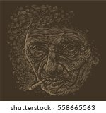 portrait of smoking old man...