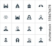 set of 16 simple faith icons.... | Shutterstock . vector #558676678