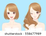 Beauty Cartoon Different Hair...