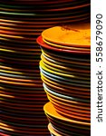 dirty plates stacked up at back ... | Shutterstock . vector #558679090