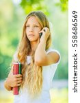 beautiful young girl student... | Shutterstock . vector #558686569