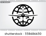 Plane Globe Icon Vector.