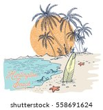 surfboard and palms at sunset... | Shutterstock .eps vector #558691624