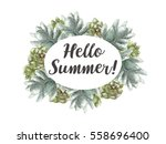 greeting card flowers... | Shutterstock . vector #558696400