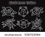 vector black roses tattoo... | Shutterstock .eps vector #558703984