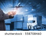 business man touching on smart... | Shutterstock . vector #558708460