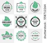 retro set of organic  bio ... | Shutterstock .eps vector #558712264