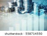 double exposure of city   graph ... | Shutterstock . vector #558714550