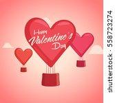 creative heart shaped hot air... | Shutterstock .eps vector #558723274
