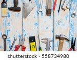 tool kit renovation on grunge... | Shutterstock . vector #558734980