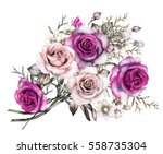 watercolor flowers. floral... | Shutterstock . vector #558735304