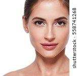 beauty woman face portrait.... | Shutterstock . vector #558741268