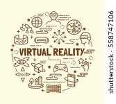 virtual reality minimal thin... | Shutterstock .eps vector #558747106
