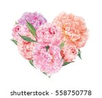 Floral Heart With Pink Peoni...