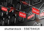 many houses symbols over black  ... | Shutterstock . vector #558754414