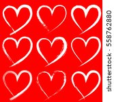 set of valentine heart isolated ... | Shutterstock .eps vector #558762880