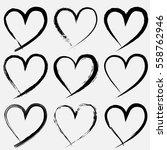set of valentine heart isolated ... | Shutterstock .eps vector #558762946