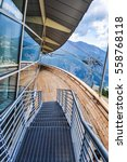 Small photo of AOSTA VALLEY, ITALY - AUGUST 06, 2015: High dynamic range (HDR) The new SkyWay aerial tramway links the city of Courmayeur with Pointe Helbronner on the top of Mont Blanc massif
