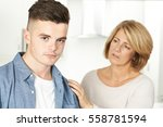 mother worried about unhappy... | Shutterstock . vector #558781594
