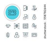 illustration of 12 data icons.... | Shutterstock . vector #558782644