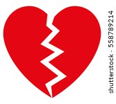 broken heart vector icon. flat... | Shutterstock .eps vector #558789214