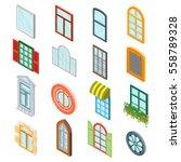 glass windows set decoration... | Shutterstock .eps vector #558789328