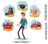 family budget planning flat... | Shutterstock .eps vector #558789340