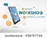 workshop word cloud concept and ... | Shutterstock .eps vector #558797734