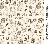 easter background with bunny ... | Shutterstock .eps vector #558803068