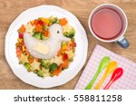 rice with vegetables  cute... | Shutterstock . vector #558811258