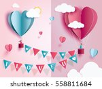 love for Valentine's day. and young joyful couple in pink balloons heart on pink background with text love and mini heart. design for valentine's festival .Vector illustration.paper craft style. | Shutterstock vector #558811684
