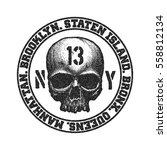 black and white skull. vector... | Shutterstock .eps vector #558812134