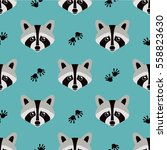 seamless raccoon pattern in... | Shutterstock .eps vector #558823630