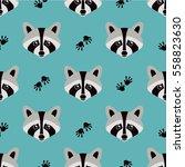 seamless raccoon pattern in... | Shutterstock .eps vector #558823630
