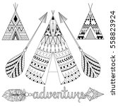 hand drawn american native... | Shutterstock .eps vector #558823924