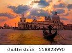 venetian gondolier punting... | Shutterstock . vector #558823990
