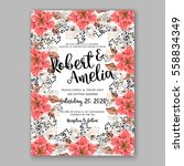 wedding invitation floral... | Shutterstock .eps vector #558834349